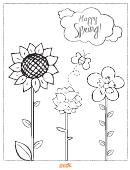 Happy Spring! - Coloring Sheet
