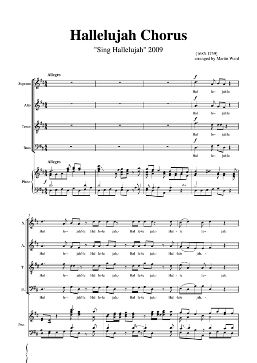 Hallelujah Handel Arranged For Chorus And Piano Printable Pdf