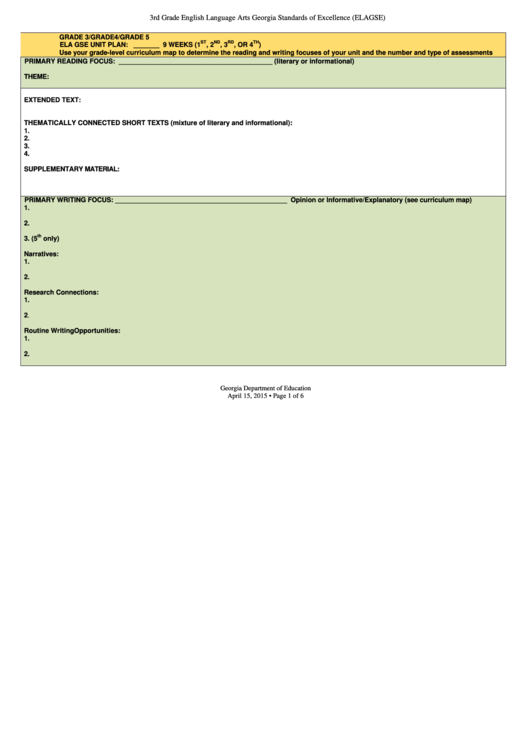 3rd Grade English Language Arts Georgia Standards Of Excellence (elagse) Unit Plan Template