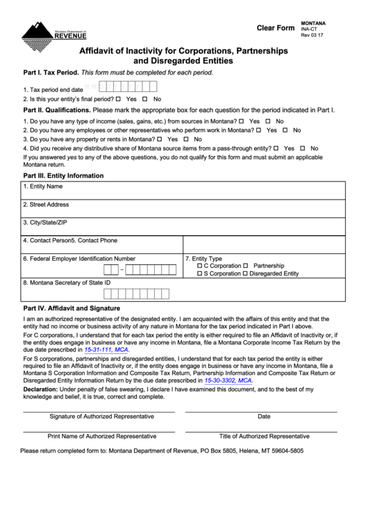 Form Ina-ct - Affidavit Of Inactivity For Corporations, Partnerships And Disregarded Entities - Montana Department Of Revenue - 2017