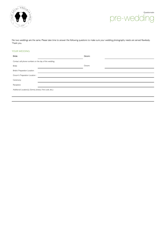 Pre-wedding Questionnaire Template