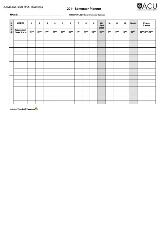 Semester Planner Template