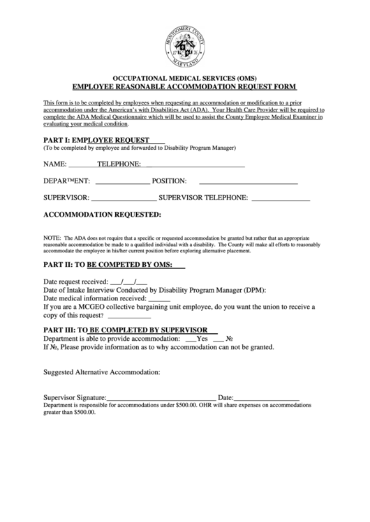 Fillable Employee Reasonable Accommodation Request Form