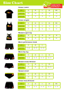 Undies Run Size Chart