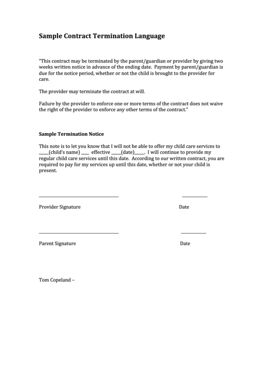 sample contract termination language letter printable pdf