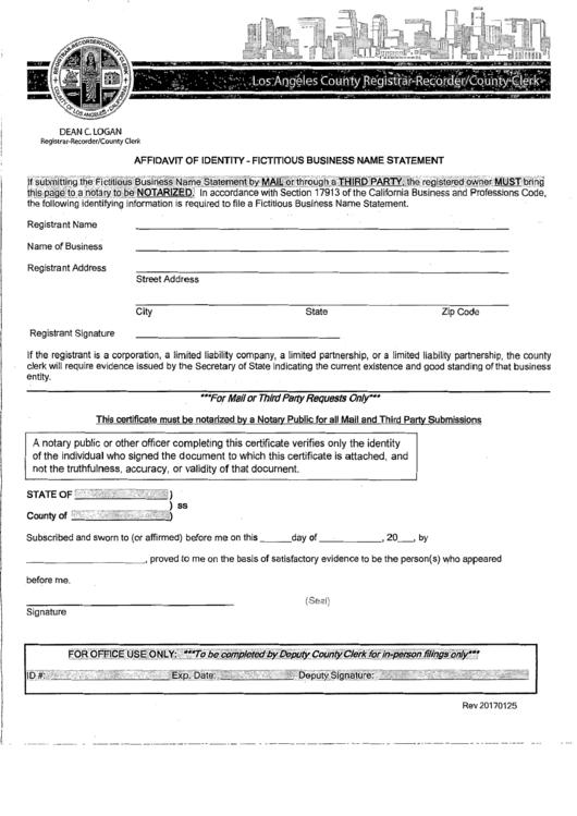 Affidavit Of Identity - Fictitious Business Name Statement
