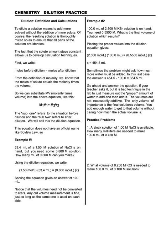 Dilution Worksheet Printable Pdf Download