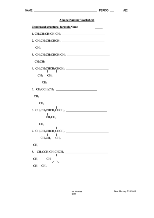 Top 9 Alkanes Worksheet Templates Free To Download In Pdf