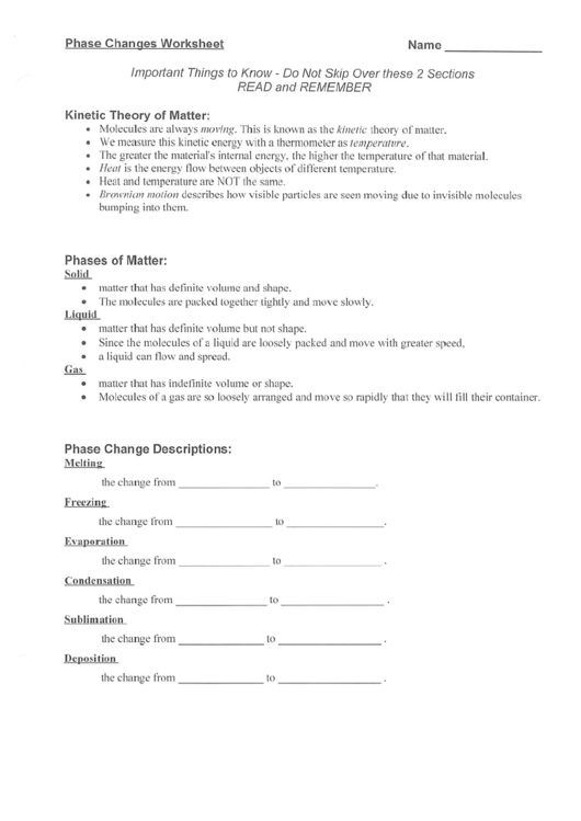 Top 10 Kinetic Theory Worksheet Templates Free To Download