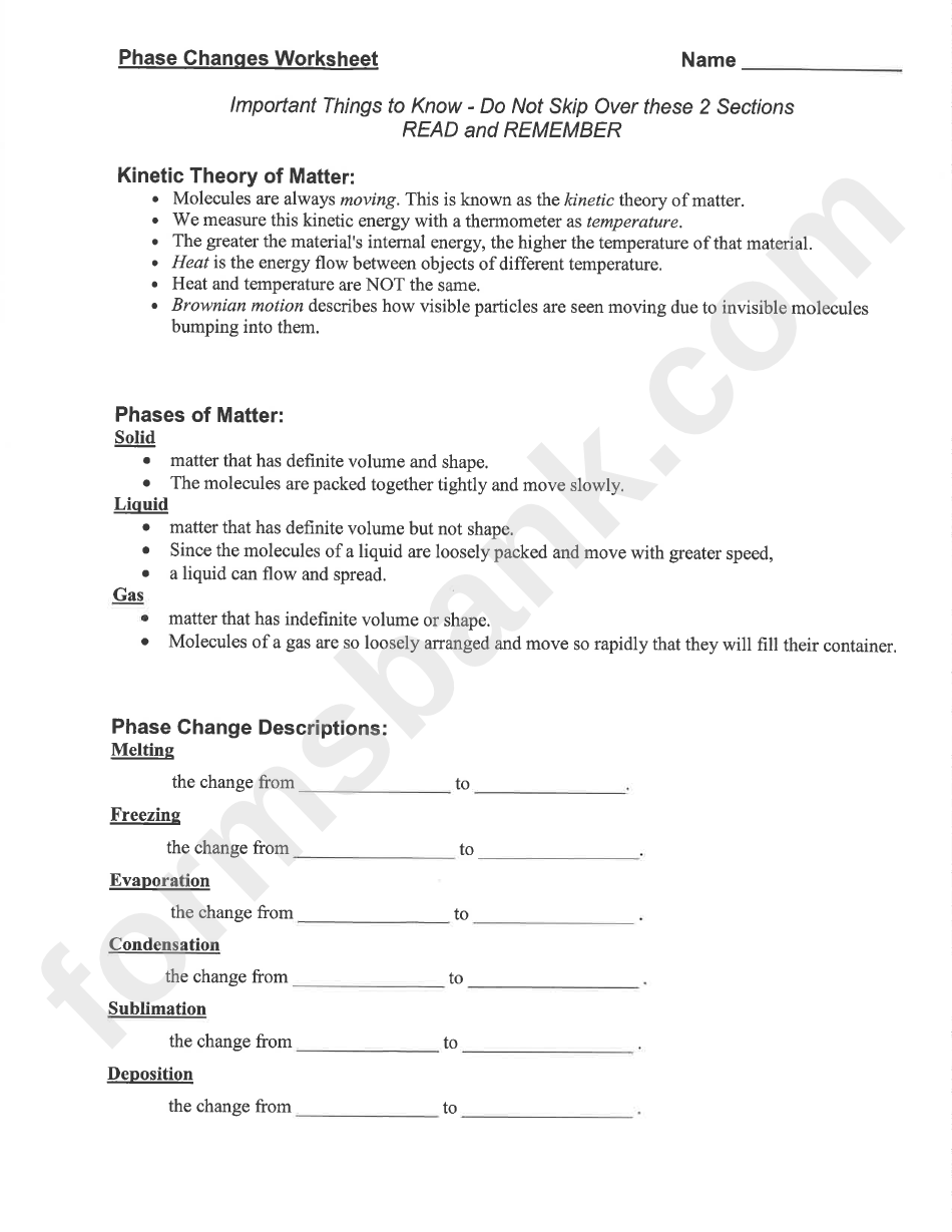 Phase Changes Worksheet printable pdf download