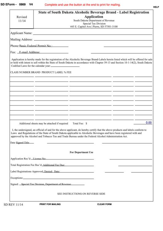 Fillable Sd Eform 0869 - State Of South Dakota Alcoholic Beverage Brand - Label Registration Application Printable pdf