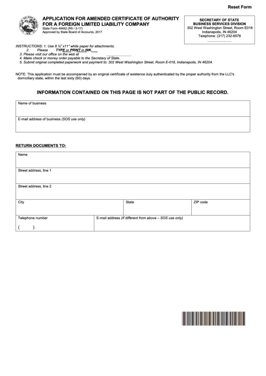 State Form 49462 - Application For Amended Certificate Of Authority For A Foreign Limited Liability Company - 2017