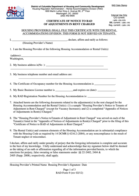 Rad Form 9 - Certificate Of Notice To Rad Of Adjustments In Rent Charged Printable pdf