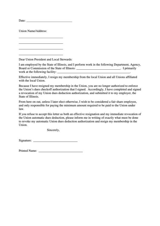 Union Resignation Letter Template Printable pdf