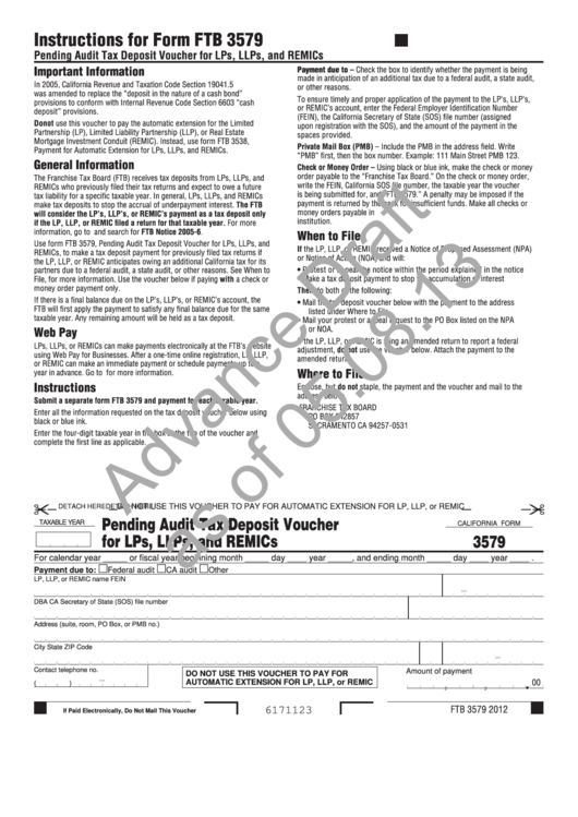Fillable Form 3579 - Pending Audit Tax Deposit Voucher For Lps, Llps, And Remics - Draft Printable pdf