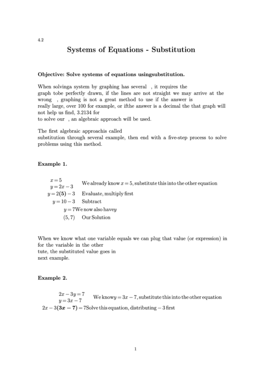 Systems Of Equations - Substitution Worksheet With Answers