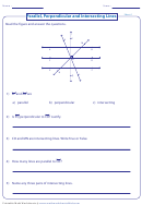 Parallel, Perpendicular And Intersecting Lines Worksheet With Answers