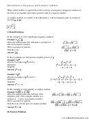 Introduction To Imaginary And Complex Numbers Worksheet With Answers