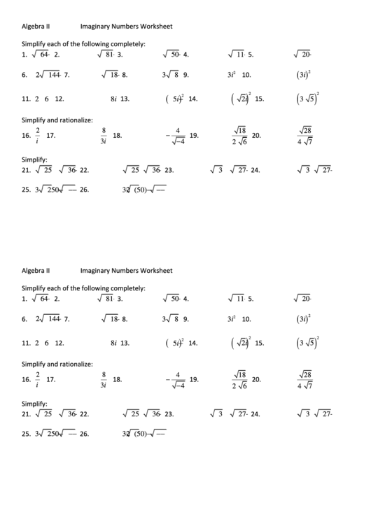 Top Imaginary Numbers Worksheet Templates Free To Download In Pdf Format