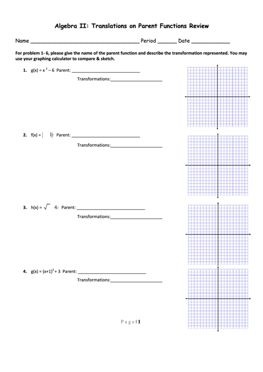 Translations On Parent Functions Review Worksheet Printable Pdf Download