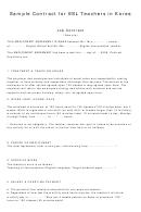 Sample Contract For Esl Teachers In Korea