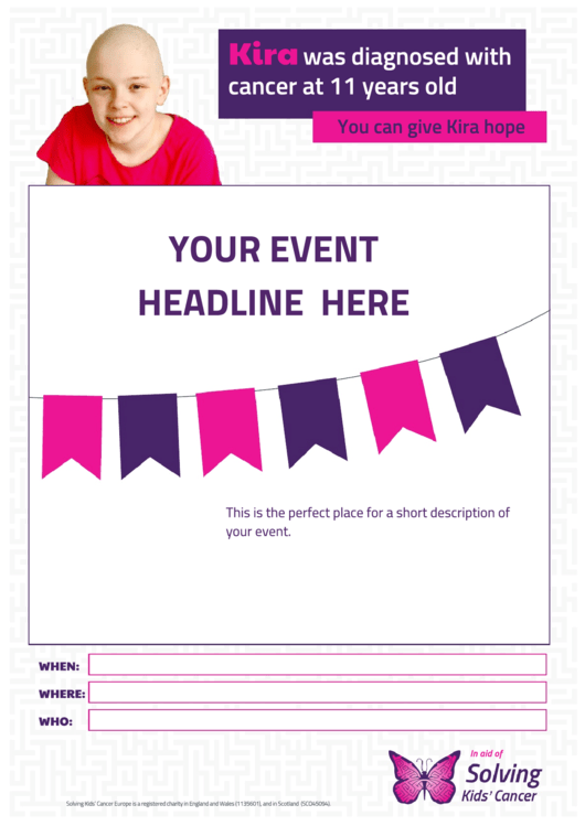 Solving Kids' Cancer Event Poster Template