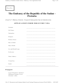 Application Form For Entry Visa - Embassy Of Sudan In South Africa