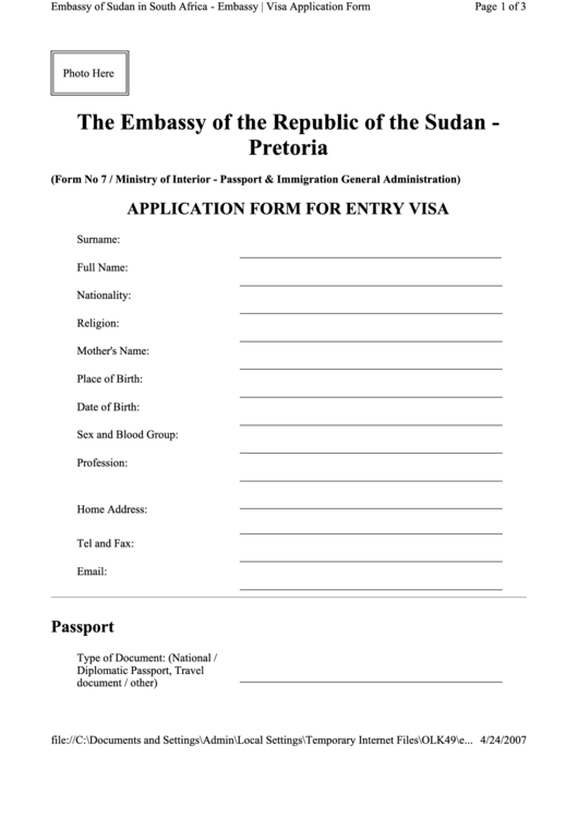 Top 10 Sudan Visa Application Form Templates free to download in PDF