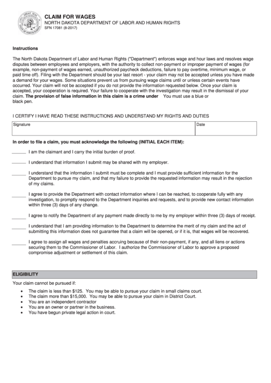 Form Sfn 17081 - Claim For Wages