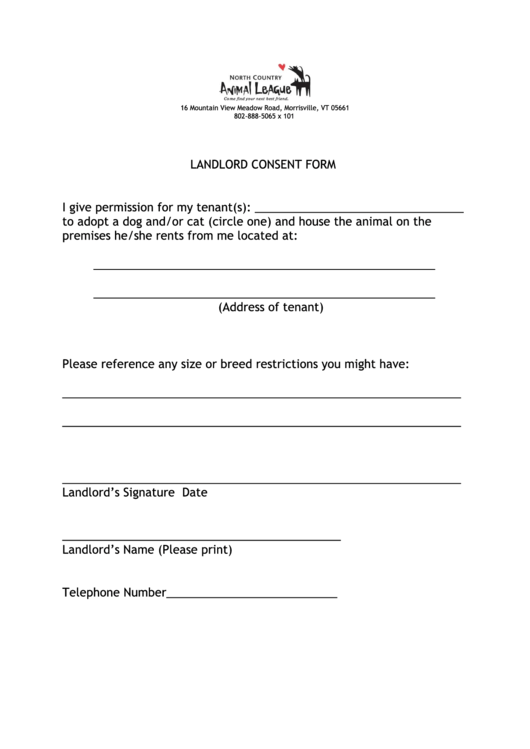 landlord consent form printable pdf download