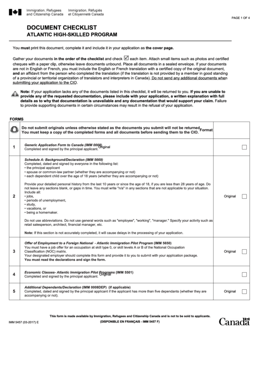 Fillable Form Imm 5457 - Document Checklist Atlantic High-Skilled Program Printable pdf
