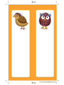 Partridge Owl Orange Bookmark
