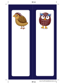 Partridge Owl Blue Bookmark