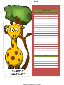 Giraffe Reading Checklist Bookmark