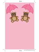Teddy Bear Pink Umbrella Bookmark