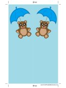 Teddy Bear Blue Umbrella Bookmark