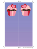 Pink Heart Cupcake Purple Bookmark