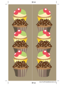 Cupcakes Brown Bookmark