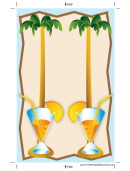 Palm Tree Drink Blue Bookmark
