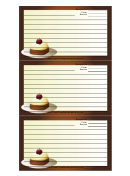 Brown Dessert Recipe Card Template