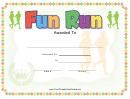 Fun Run Certificate