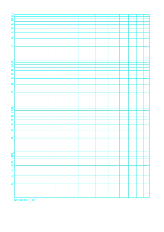 Log-log Paper With Logarithmic Horizontal Axis (one Decade) And Logarithmic Vertical Axis (four Decades) On Letter-sized Paper Template