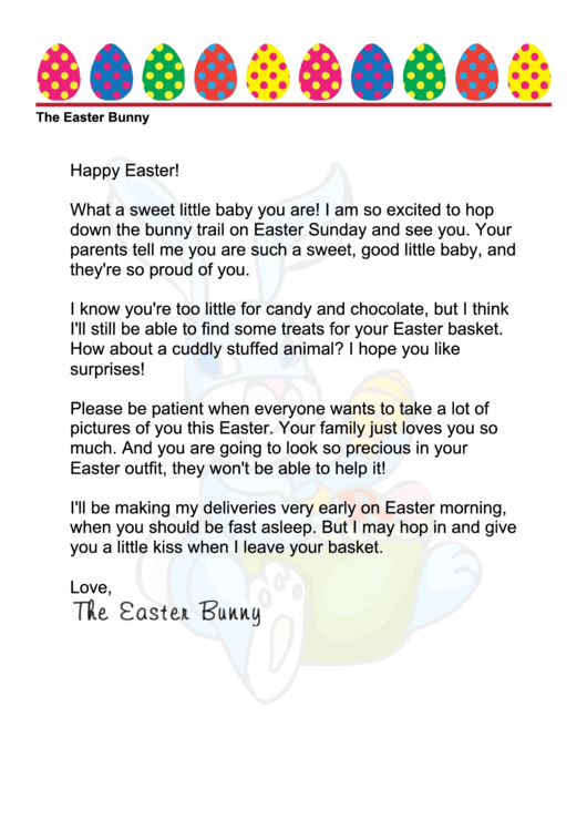 graphic about Letter From Easter Bunny Printable titled Easter Bunny Letter Template - Child printable pdf obtain