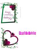 Grren Frame Purple Heart Valentine Card Template