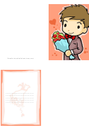 Bouquet Of Roses Valentine Card Template