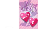 Lock And Key Hearts Valentine Card Template