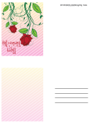 Roses With Stems Small Valentine Card Template