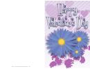 Blue Flowers Valentine Card Template