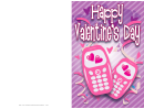 Two Cell Phones Valentine Card Template