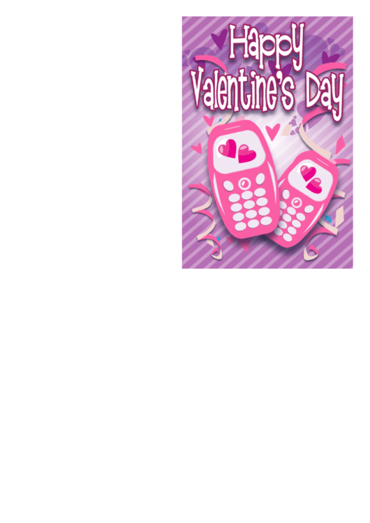 Two Cell Phones Valentine Card Template Printable pdf
